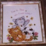 Free To Bee..3 kittens playing, cross stitch