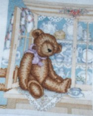 Teddy Bear On China Hutch: Cross Stitch