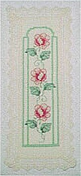 # pink roses bookmark; cross stitch