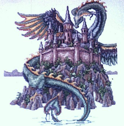 Dragon over a castle cross stitch